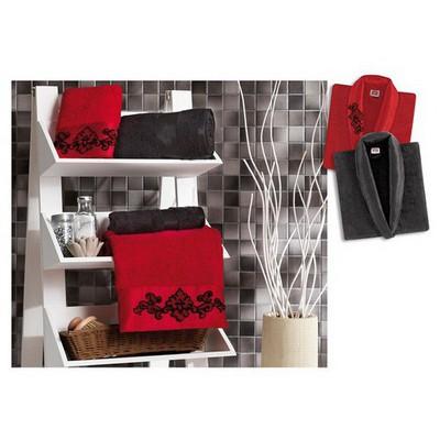 Taç Leon Aile  Seti - Kırmızı/siyah Bornoz