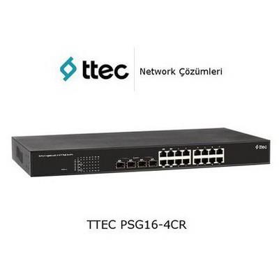 Ttec PSG16-4CR 16 portlu Gigabit-RJ45 PoE+(260W) 4 Combo RJ45/SFP port RackTipi Tak Ça Switch