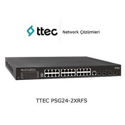 Ttec PSG24-2XRFS 24 portlu Gigabit-RJ45 PoE+(500W) 2 port 10GE SFP+Layer 2+Rack tipi Switch