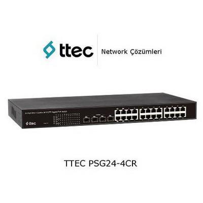 Ttec Psg24-4cr 24 Portlu Gigabit-rj45 Poe+(390w), 4 Combo Rj45/sfp Port, Racktipi Switch