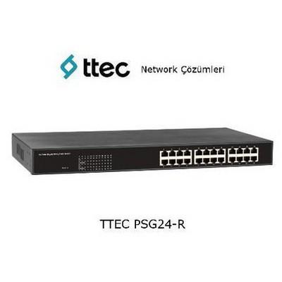 Ttec PSG24-R 24 portlu Gigabit-RJ45 PoE+(390W) RackTipi Tak Çalıştır Switch