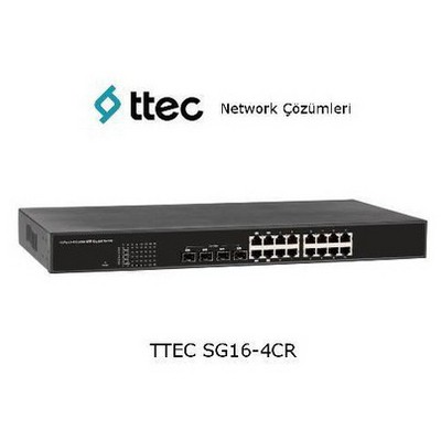 Ttec SG16-4CR 16 portlu Gigabit-RJ45 4 Combo RJ45/SFP port Rac Switch
