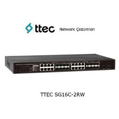 Ttec Sg16c-2rw 16 Portlu Combo Gigabit-rj45/sfp + 2 Sfp Port, Racktipi Web Smart Switch