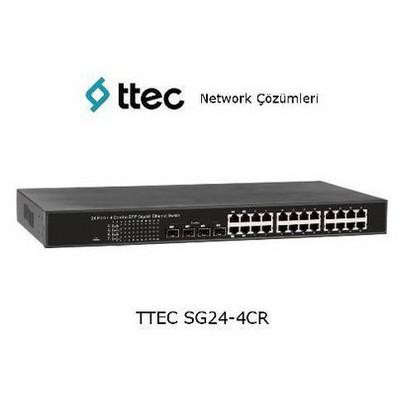 Ttec SG24-4CR 24 portlu Gigabit-RJ45 4 Combo RJ45/SFP port Rack Tipi Tak Çalıştır Swi Switch