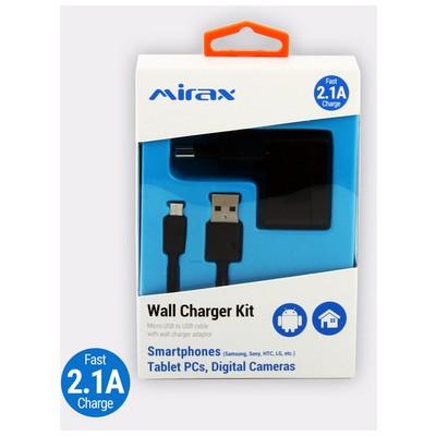 Mirax Micro USB bağlantılı duvar şarj kiti, (Samsung, Sony, HTC, LG) 2.1A Şarj Cihazları