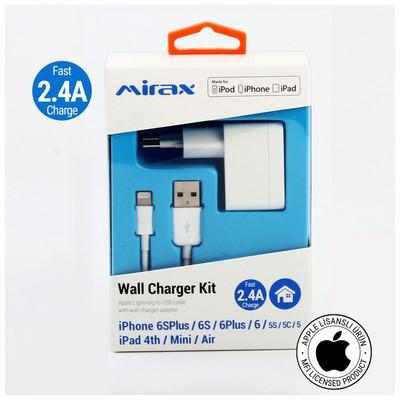 Mirax iPhone  6S/6SPlus/6/6Plus/5/5S/5C duvar şarj kiti, iPad&iPod uyumlu, 2.4A, Orijinal Apple Lisanslı Şarj Cihazları