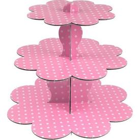 Parti Paketi Pembe Puantiyeli Cupcake Standı, 3 Kat Parti Tabağı