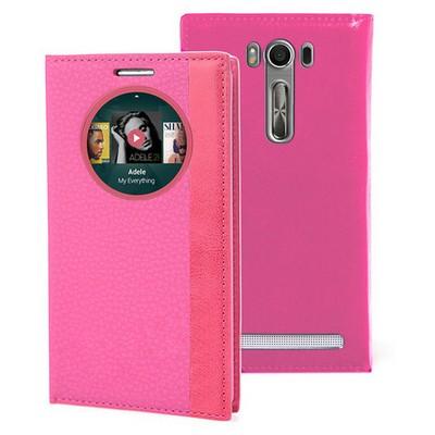 Microsonic Asus Zenfone Selfie Kılıf Gizli Mıknatıslı View Delux Akıllı Pembe Cep Telefonu Kılıfı