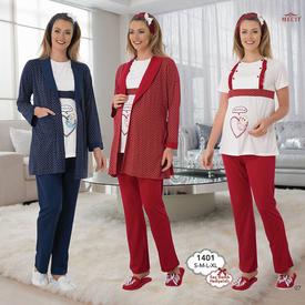 Mecit Lohusa 3'lü Pijama Takım Kırmızı S Gecelik & Pijama