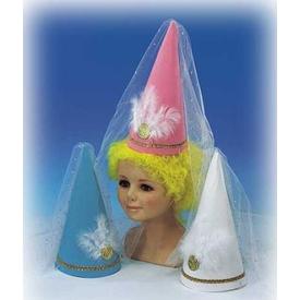 Parti Paketi Beyaz Prenses Şapkası, Tüllü Kostüm Şapkası