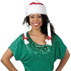 Parti Paketi Noel Anne Şapka, Saçlı Kostüm Şapkası