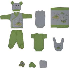 Bebitof 656 Bulutta Uçan Ayıcıklar Hastane Çıkışı 10lu Set Yeşil 0-3 Ay (56-62 Cm) Kız Bebek Hastane Çıkışı