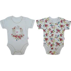 Baby Center S84174 Kız Bebek Cam Güzeli 2 Li Body Kısa Kol Pudra 9-12 Ay (74-80 Cm) Kız Bebek Body