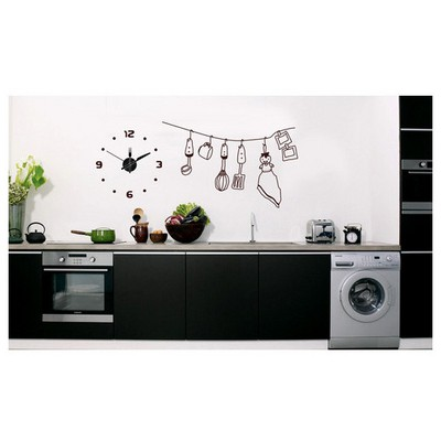 İhouse 10 C 12011 Stickerli  Siyah 80cmx80cm Duvar Saati