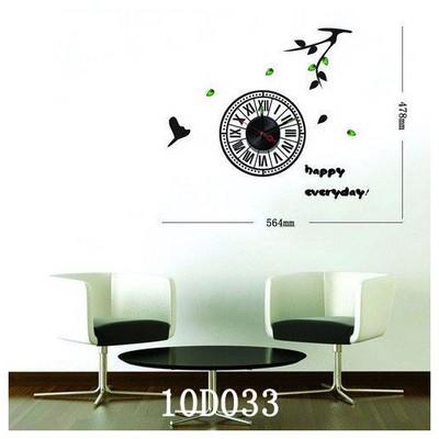 İhouse 10 D 033 Stickerli  Siyah 56cmx47cm Duvar Saati