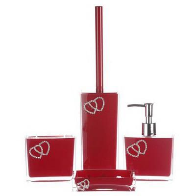 İhouse 1014kr Akrilik Taşlı Banyo Seti 4 Lü Kırmızı Banyo Gereçleri