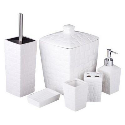 İhouse 12702 Porselen 6 Parça  Beyaz Banyo Seti