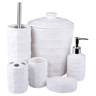 İhouse 12705 Porselen 6 Parça Banyo Seti Beyaz Banyo Gereçleri