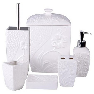 İhouse 12706 Porselen Banyo Seti 6 Lı Beyaz
