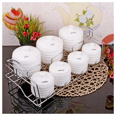 İhouse 23018 Tel Standlı Porselen Baharat Seti Beyaz Sofra Gereçleri
