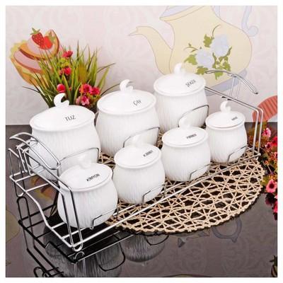 İhouse 23019 Tel Standlı Porselen Baharat Seti Beyaz