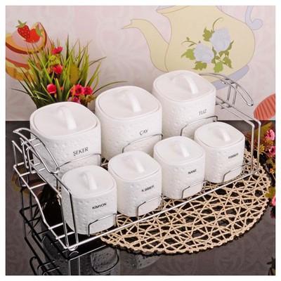 İhouse 23020 Tel Standlı Porselen Baharat Seti Beyaz