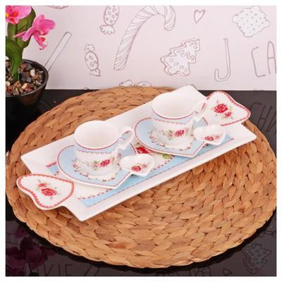 İhouse 2507 Porselen 2 Li Kahve Ikram Seti Beyaz Fincan Takımı