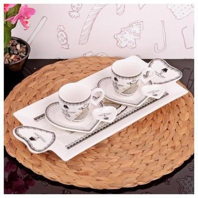 İhouse 2509 Porselen 2 Li Kahve Ikram Seti Beyaz Çay Seti
