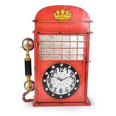 İhouse 39006 Dekoratif Metal Saat Kırmızı Duvar Saati