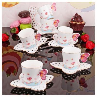 İhouse 4336 Porselen 6 Lı Kahve Takımı Beyaz Fincan Takımı