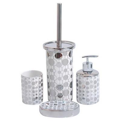 İhouse 49923 Porselen Banyo Seti Gümüş Banyo Gereçleri