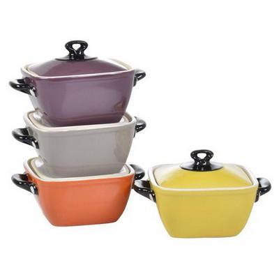 ihouse-52015-porselen-mini-tencere-seti-lila-bej-turuncu-sari