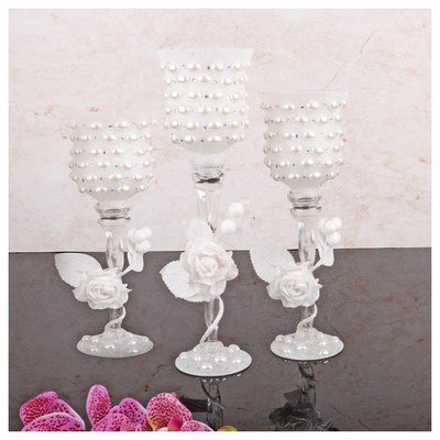 İhouse 52920 Dekoratif Mumluk Beyaz Dekoratif Ürünler
