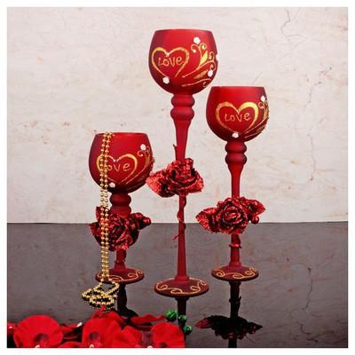 İhouse 52921 Dekoratif Mumluk Kırmızı Dekoratif Ürünler
