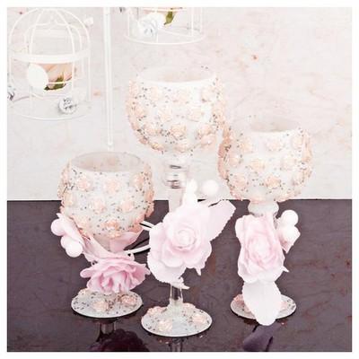 İhouse 52923 Dekoratif Mumluk Pembe Dekoratif Ürünler