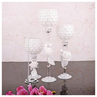 İhouse 52924 Dekoratif Mumluk Beyaz Dekoratif Ürünler
