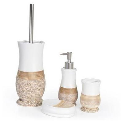 İhouse 56322 4 Lü Banyo Seti Sütlü Kahve Banyo Gereçleri