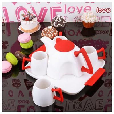 İhouse 5645 Porselen Tepsili  Kırmızı Çay Seti