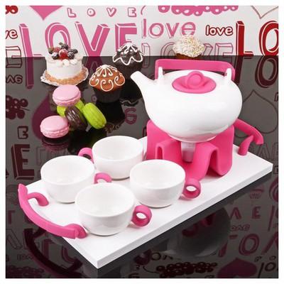 İhouse 5646 Porselen Tepsili  Pembe Çay Seti