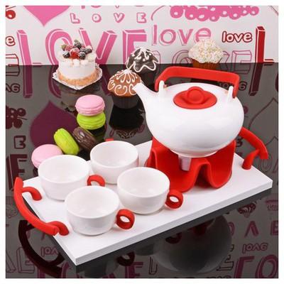 İhouse 5648 Porselen Tepsili  Kırmızı Çay Seti