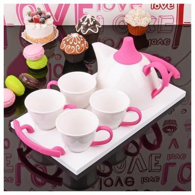 İhouse 5649 Porselen Tepsili  Pembe Çay Seti