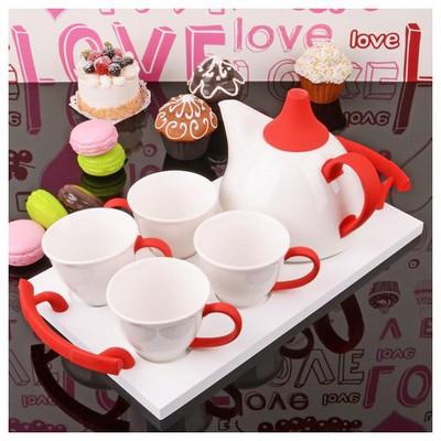 İhouse 5651 Porselen Tepsili  Kırmızı Çay Seti