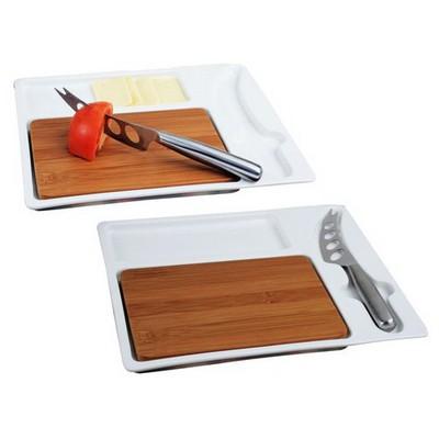 İhouse 5781 Kesme Tahtalı Kahvaltı Tabağı Beyaz Küçük Mutfak Gereçleri