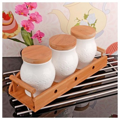 İhouse 5916 Bambulu Porselen  Beyaz Baharatlık