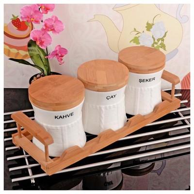 İhouse 5920 Bambulu Porselen  Beyaz Baharatlık