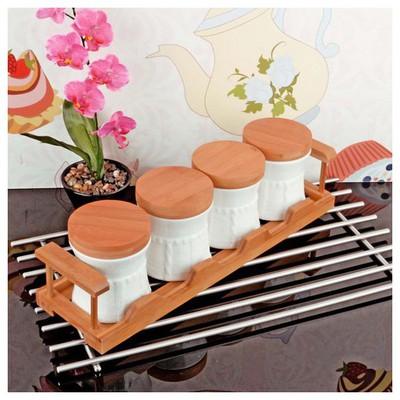 İhouse 5921 Bambulu Porselen  Beyaz Baharatlık