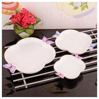 İhouse 8019 Porselen 3 Lü Servis Tabağı Beyaz Küçük Mutfak Gereçleri