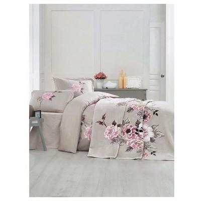 Clasy Rosemaryv2 Battaniyeli Nevresim Takımı Çift Kişilik Bej Ev Tekstili