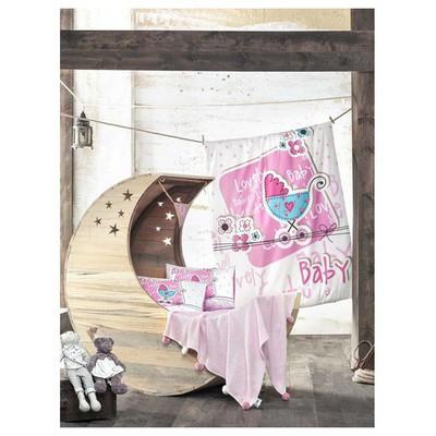 Clasy Lovely Baby Örgülü Bebek Battaniyeli  Tek Kişilik Pembe Nevresim Takımı