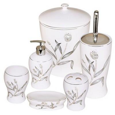 İhouse 906g Porselen  6 Lı Gri Banyo Seti